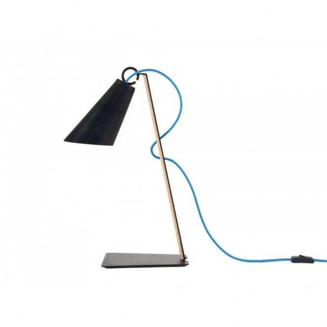 PIT contemporary desk lamp in black with textile cable and wooden frame