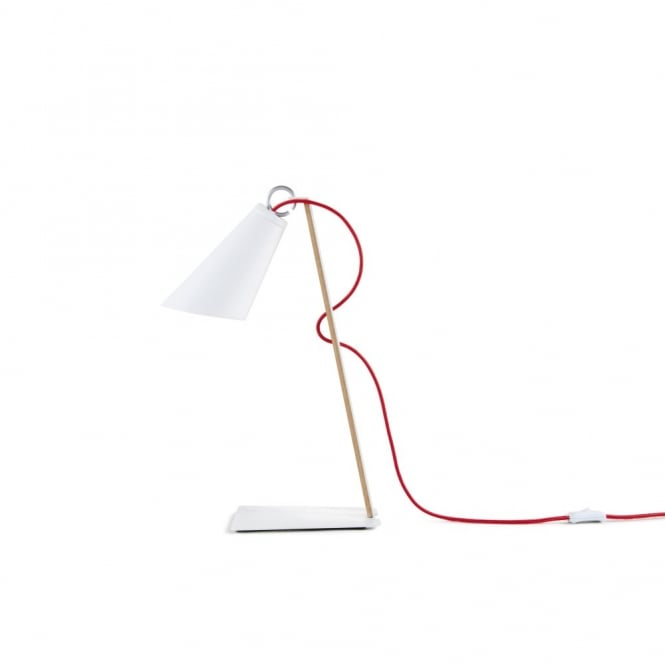 PIT contemporary desk lamp in white with textile cable and wooden frame