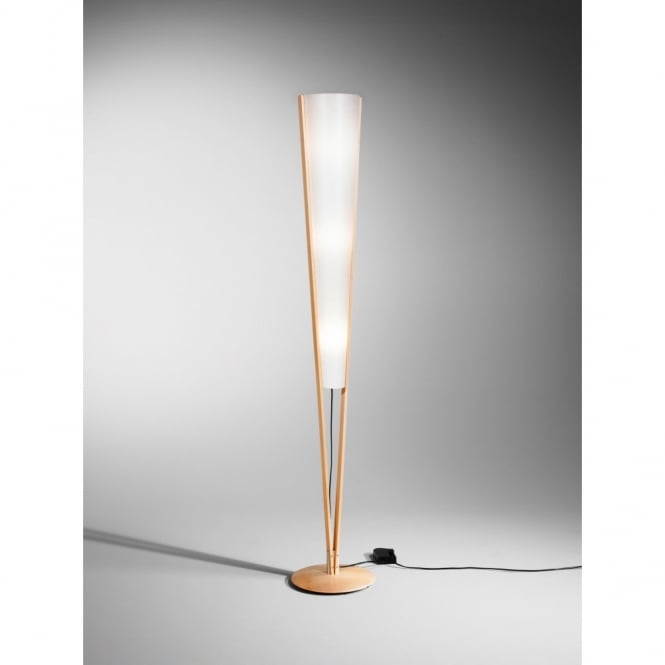 Contemporary Wooden Floor Lamp In Beech Finish With