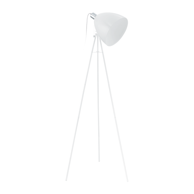 Retro White Floor Lamp with Pull Cord Switch - Double Insulated