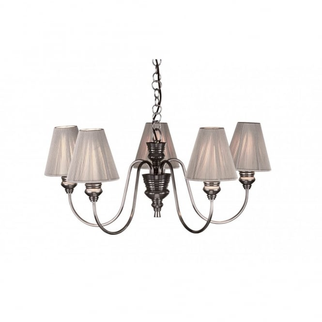 Doreen 5 light pewter ceiling light with grey string shades doreen pewter ceiling light aloadofball Choice Image