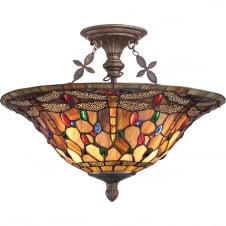 Tiffany semi flush ceiling light with dragonfly design