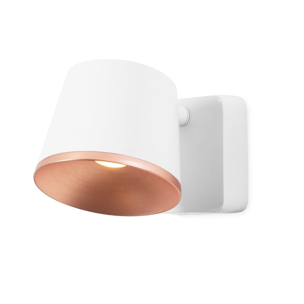 Contemporary Matte White And Copper Led Wall Light