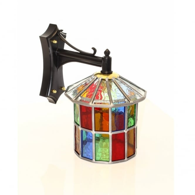 Multi coloured stained glass outdoor wall lantern aloadofball Image collections