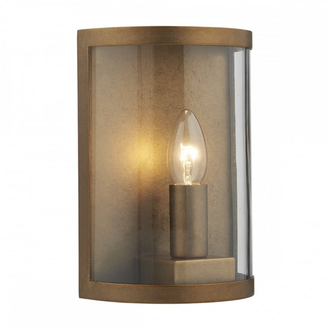 DUSK rustic aged brass outdoor wall light