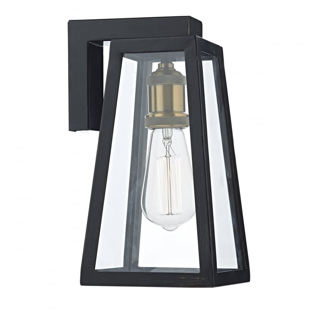 Elegant Tapered Matt Black Outdoor Wall Lantern With Clear Glass Panels