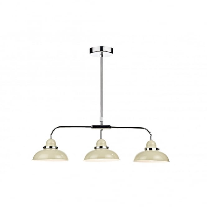 Triple bar suspension 3 cream metal lights lighting over large tables aloadofball Choice Image