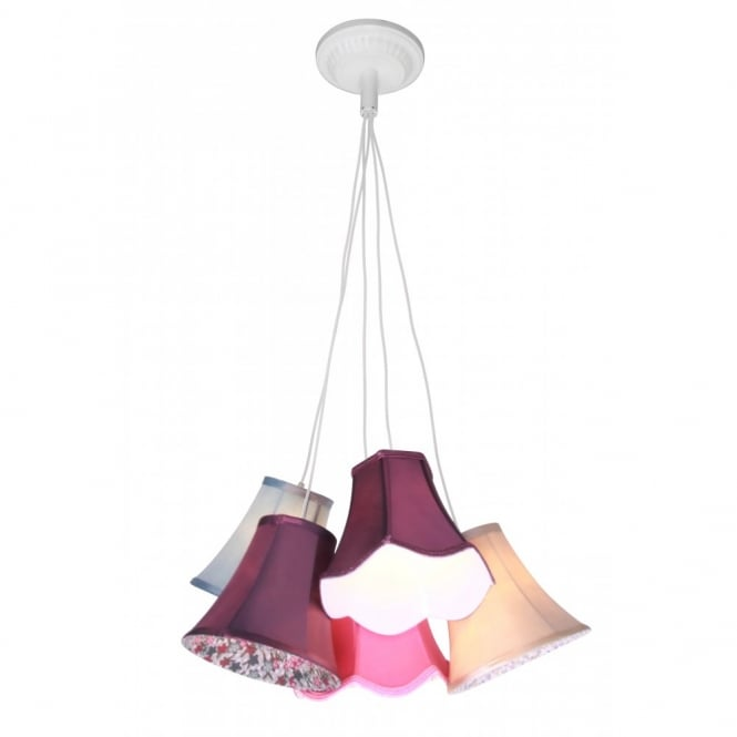 Eclectic CLUSTER 5 Light Ceiling Pendant with Coloured Shades