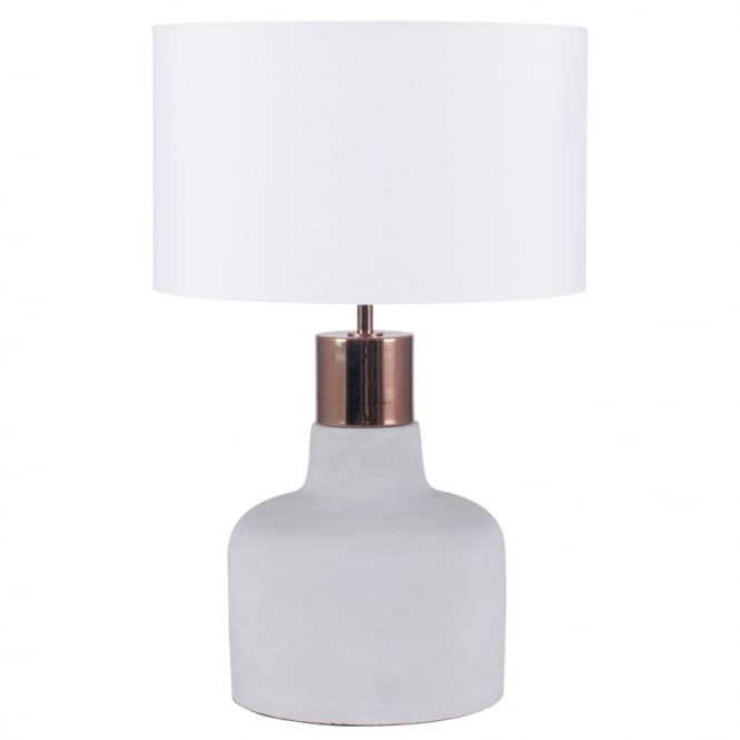Eclectic FORD concrete and copper table lamp with shade