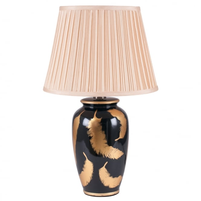 QUILL gold and black ceramic table lamp with feather pattern and shade