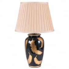 black and gold leaf ceramic table lamp with shade