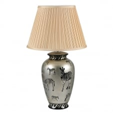 traditional ceramic lamp with zebra print and shade