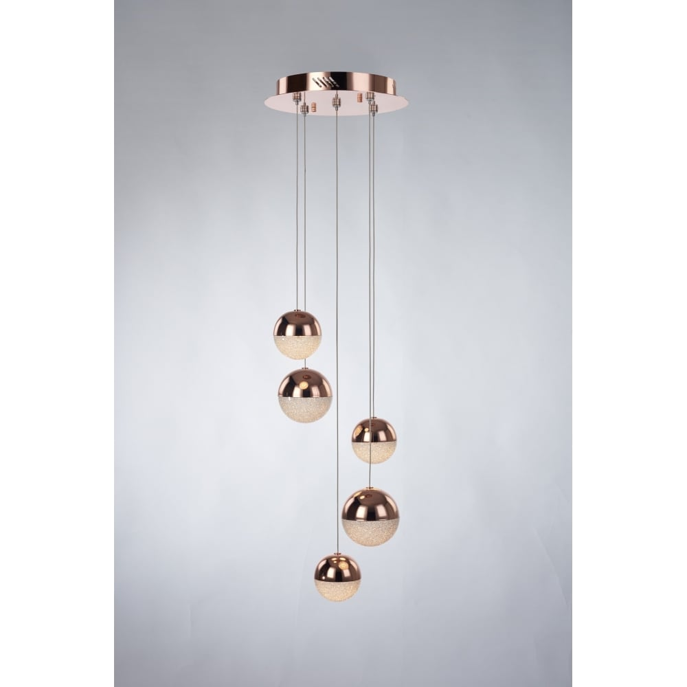 Copper and crystal led 5 light pendant cluster