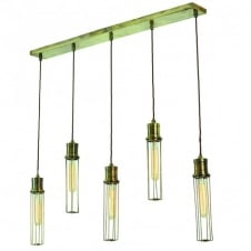 Alexander 5 Light Pendant Antique Brass C/W LB1 Bulbs