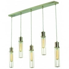 Alexander 5 Light Pendant Polished Nickel C/W LB1 Bulbs
