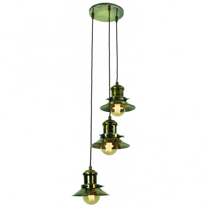 Edison Lighting EDISON SMALL, Industrial styled Light Cluster pendant in Antique Brass includes bulbs.