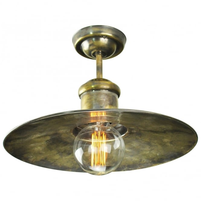 Vintage industrial design flush ceiling light in antique brass vintage industrial design flush ceiling light in antique brass with decorative bulb mozeypictures Images