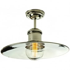 Large Edison Flush Polished Nickel C/W LB3 Bulbs