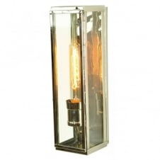 vintage polished nickel wall lantern with retro filament bulb