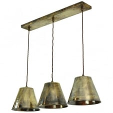 vintage industrial design 3lt ceiling pendant bar in antique brass with LED bulbs