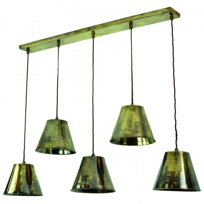 Map Room 5 Light Pendant Antique Brass C/W LB4 Bulbs