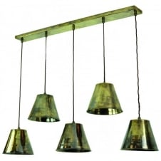 vintage industrial design 5lt ceiling pendant bar in antique brass with LED bulbs
