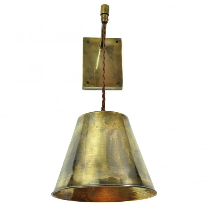 Wall Lamp Height Standard : Vintage Industrial Suspended Wall Light in Antique Brass with Bulb
