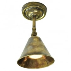vintage industrial antique brass wall or ceiling light with adjustable shade
