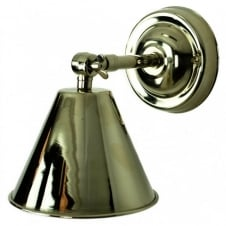 vintage industrial polished nickel wall light with adjustable shade