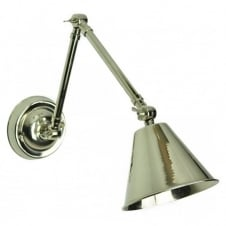 vintage industrial polished nickel wall light with adjustable arm and shade