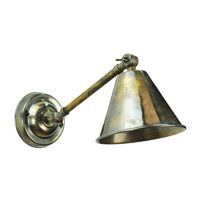 Beau Vintage Industrial Antique Brass Wall Light With Adjustable Shade
