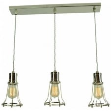 Marconi 3 Light Pendant Polished Nickel C/W LB2 Bulbs