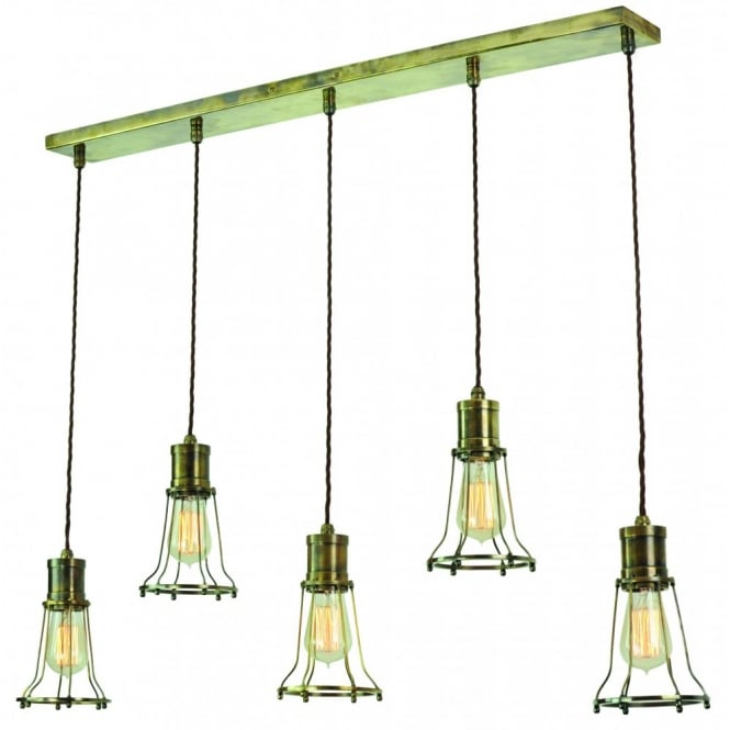 Leonlite 3 Pack Industrial Pendant Lighting For Kitchen: Vintage Cage Design 5 Light Ceiling Bar Pendant In Antique