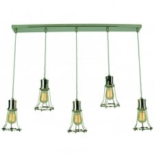 Marconi 5 Light Pendant Polished Nickel C/W LB2 Bulbs
