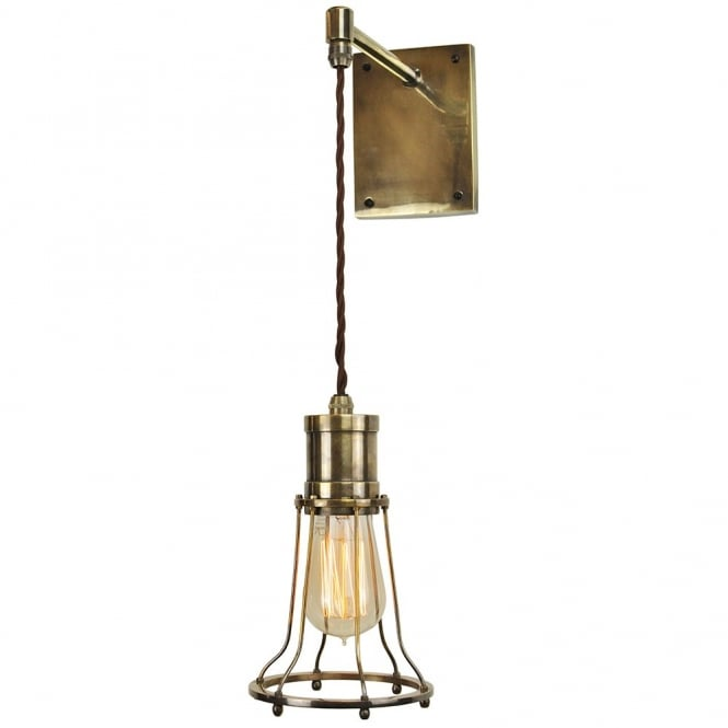 Edison Lighting Marconi Adjustable Height Wall Light Antique Brass C/W LB2 Bulbs