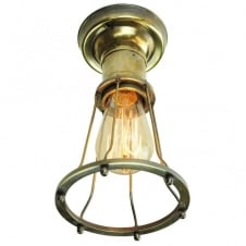 Marconi Flush Antique Brass C/W LB2 Bulbs