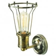 vintage design antique brass cage wall light with filament bulb