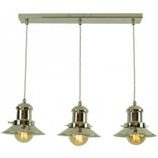 Small Edison 3 Light Pendant Polished Nickel C/W LB3 Bulbs