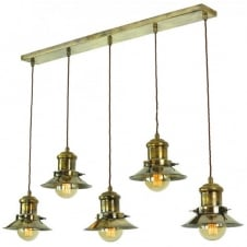 Small Edison 5 Light Pendant Antique Brass C/W LB3 Bulbs