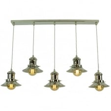 Small Edison 5 Light Pendant Polished Nickel C/W LB3 Bulbs