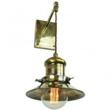 vintage industrial style wall pendant light in antique brass with bulb