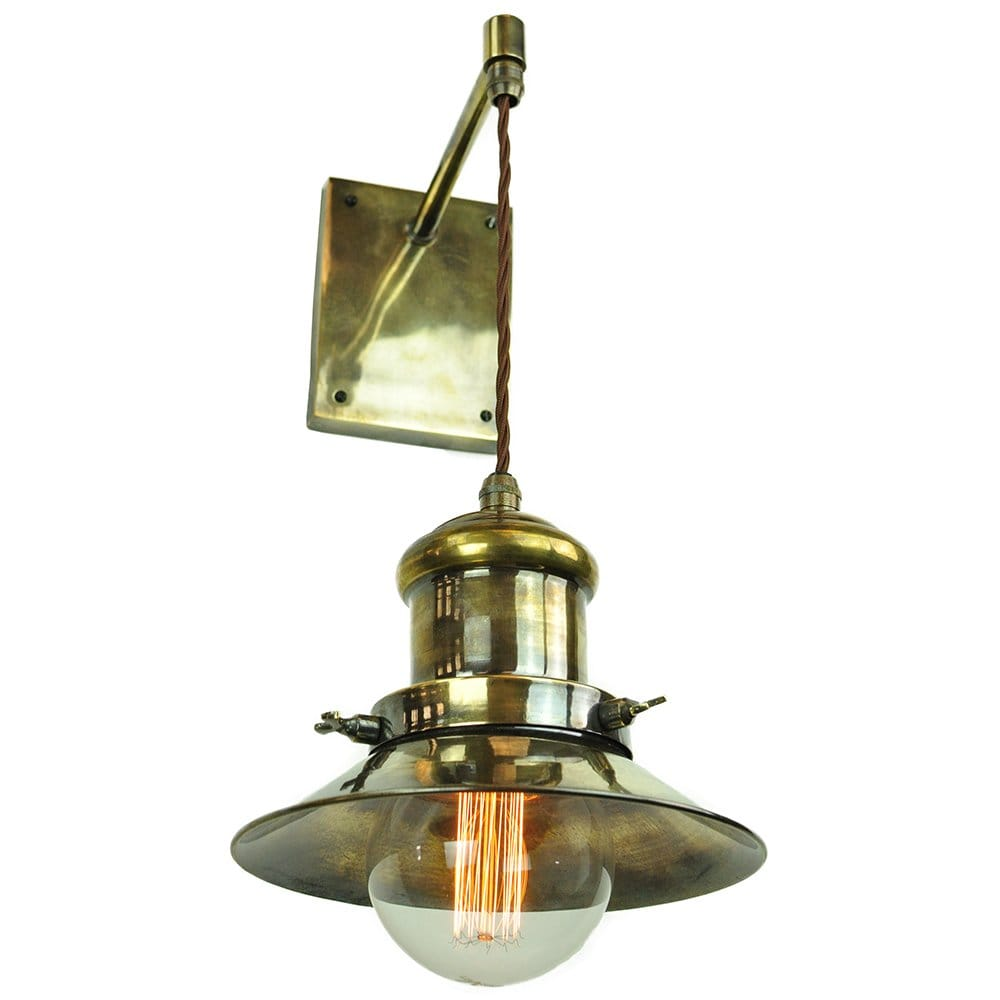 Vintage Style Industrial Wall Light w/ Suspended Shade - Antique Brass