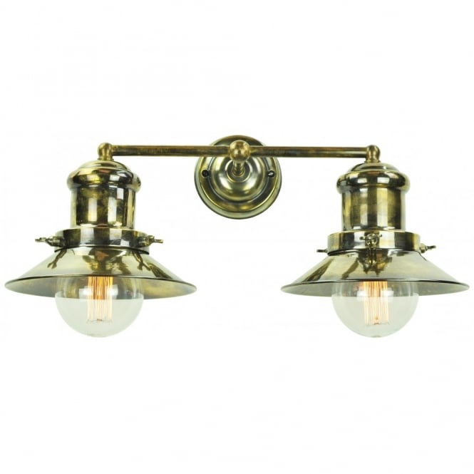 Edison Lighting Small Edison Double Wall Antique Brass C/W LB3 Bulbs