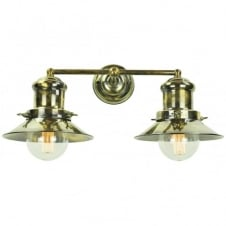 vintage industrial antique brass double wall light with decorative vintage bulbs