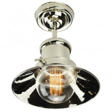 Small Edison Flush Polished Nickel C/W LB3 Bulbs