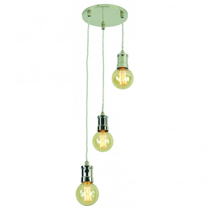 Edison Lighting TOMMY 3 light cluster pendant light with vintage lamp bulbs.