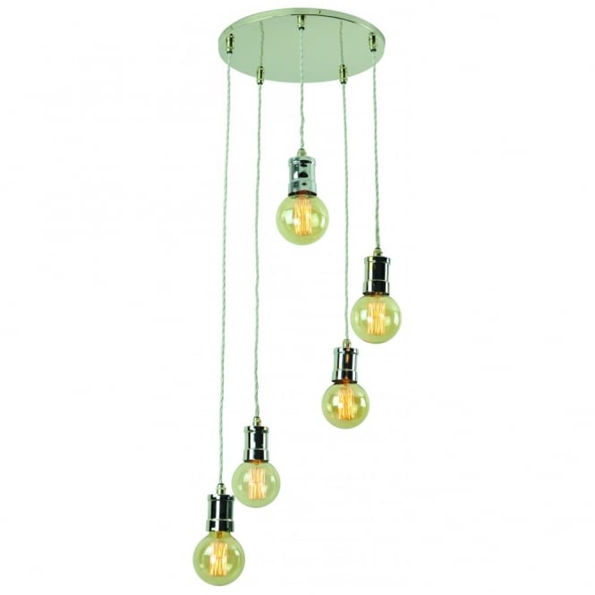Edison Lighting TOMMY 5 Light Cluster Pendant Light Fitting in Polished Nickel complete with Bulbs