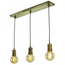 Bare filament bulb light fitting over a bar or table.