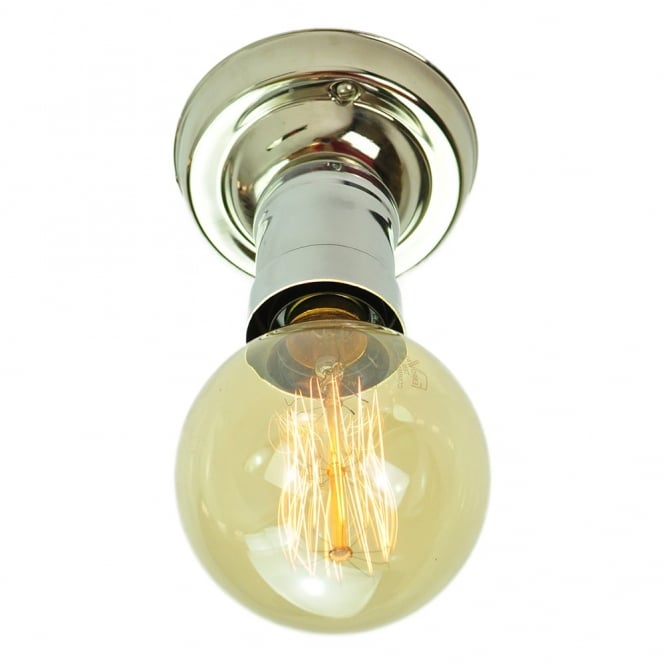 TOMMY Flush Polished Nickel Ceiling Light With Vintage Bulbs