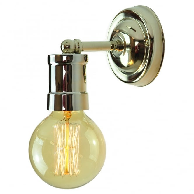 Edison Lighting TOMMY Industrial Look Wall Light Polished Nickel with vintage light bulbs.